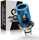 Ampoule H4 LED avec Yeux D'ange, HS1 Phare per Moto 6400LM, DC 12V Pack de 1- Bleu