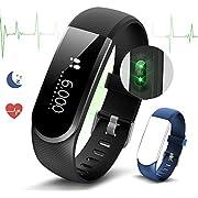 Fitness Tracker, Fitness Armbanduhr Smart Armband Schrittzähler mit Herzfrequenz Pulsmesser Schlaf-Monitor Kalorienzähler Wasserdicht Push-Message/ Anrufer-ID Aktivitätstracker by Ironpeas