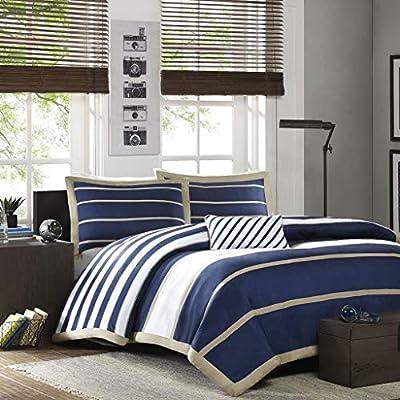 Mi Zone - Ashton - Comforter Set - Navy - Full/Queen - Striped Pattern - Includes 1 Comforter, 1 Decorative Pillow, 2 Shams