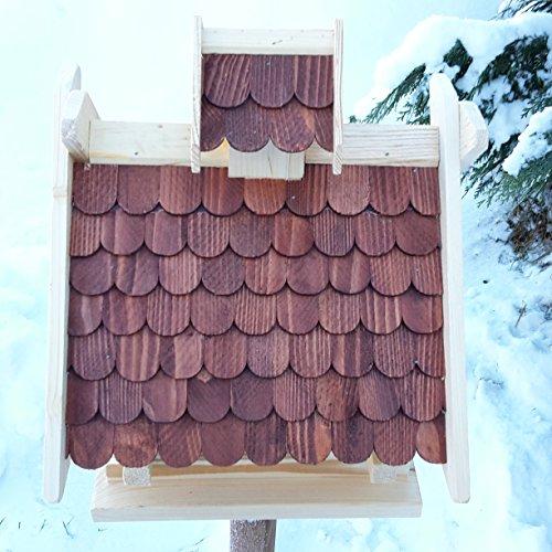 Vogelhaus Schreinerarbeit Futterhaus Vogelhäuschen –Wetterschutz– K Block Braun Holz Vogelhäuser - 3