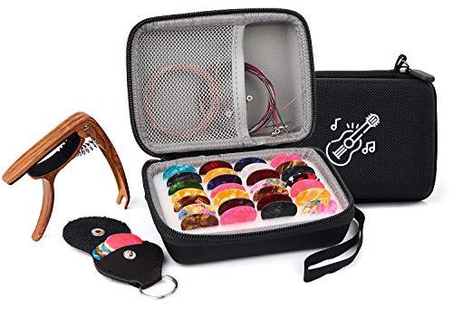 PlasMaller Juego de bolsas de soporte para púas de guitarra, cejilla de actualización incluida + cuerdas de guitarra + 30 púas de guitarra eléctrica acústica de colores + soporte para púas peq