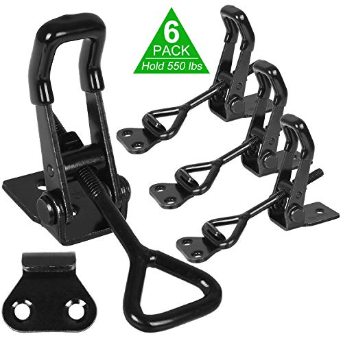 6 Pack Adjustable Toggle Clamp, 550 lbs Holding Capacity Toggle Latch Hasp Clamp GH-4002 Quick Release Pull Latch for Door, Box Case Trunk, Smoker Door, Jig