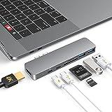 USB C Hub, 7 en 1 MacBook Hub Thunderbolt 3 Tipo C de Aluminio, 2 Puertos USB 3.0, Suministro de Energía de 100 W, Adaptador USB C Hub con HDMI 4K para MacBook Pro / Air
