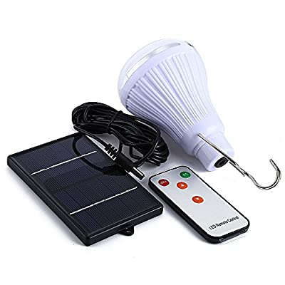 AVEKI Solar Light Bulb Outdoor, Portable Solar Powered LED Bulb Multi-functional Waterproof Hook Emergency Lamp with Remote for Outdoor Camping Tent Fishing Hiking Reading Lighting