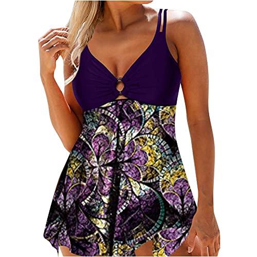 FENGLISUSU Traje de baño con Cuello en V de Las Mujeres Que Imprime el Traje de baño Siamese, Las Cubiertas de la Playa para Las Mujeres más tamaño (Color : Purple/XXL)