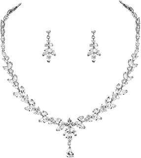 Aoligrace 2Pcs Cubic Zirconia Leaves-Shaped Wedding Bridal Jewelry Sets CZ Party Prom Necklace and Earrings Sets for Women