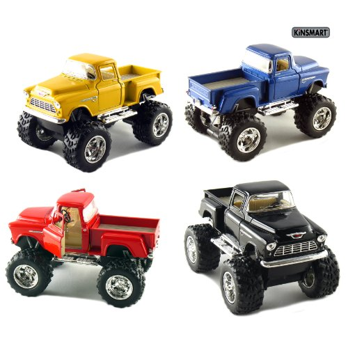 Set of 4 Trucks: 5 Chevy Stepside 4x4 Pick Up Monster Wheel (Black, Blue, Red and Yellow)