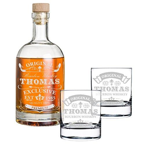 polar-effekt 3-TLG Geschenk-Set mit Gravur - Whiskyflasche und 2 Whiskygläser - Glas-Karaffe Inhalt: 700ml - Geschenkidee für Männer - Motiv Original-Exklusive