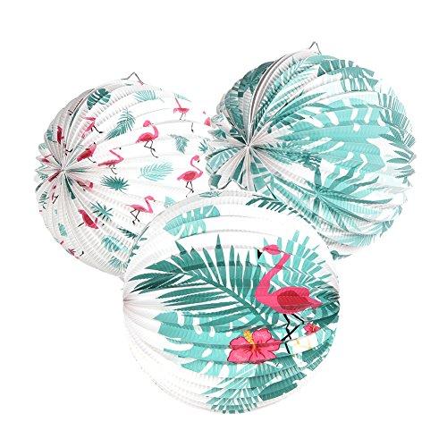 Easy Joy 3er Set Flamingo Lampions Tropische Blätter Laternen Sommer Deko (Mix)