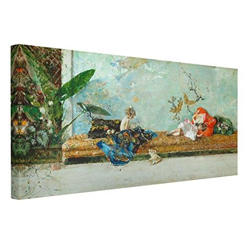 Bilderwelten Cuadro en lienzo - Mariano Fortuny - Los Hijos del Pintor en el Salón japonés - Apaisado 1:2, cuadro lienzo cuadro sobre lienzo cuadro decoracion cuadro decorativo, Tamaño: 80 x 160 x 2cm