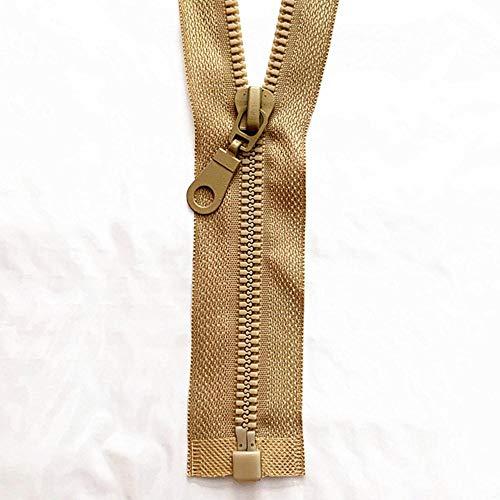 2-5 piezas, 5# 25-70 cm cremallera de resina desmontable apertura de apertura cierre automático ecológico cremallera de plástico para coser traje-caqui, 5 piezas, 50 cm