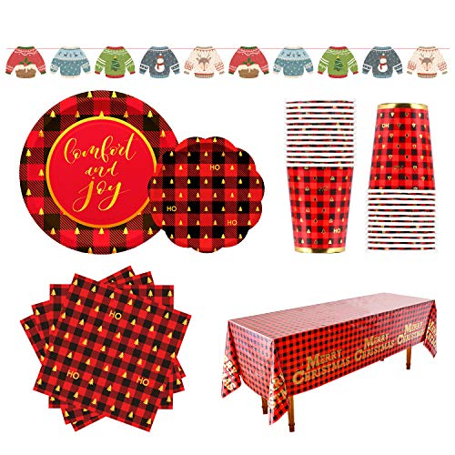 Christmas Buffalo Plaid Tableware Pack SERVE 25 Dinner & Dessert Plates, Napkins, Cups, for Christmas Party