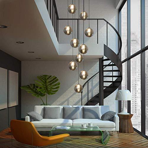 KBEST Luminaire Suspension Boule Verre Boule escalier Suspendu Lampes suspendues Lustre RÉglable en Hauteur Lampe d'escalier Longue en Verre Simple Moderne Minimaliste Lumière (Gris, 10 lumières)