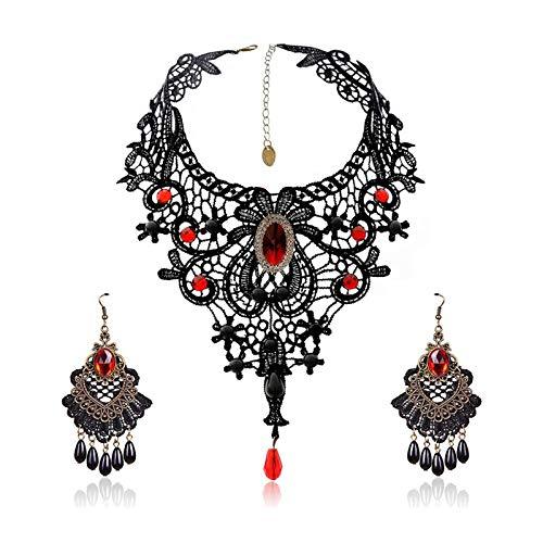 Choker Dentelle Noire SEELOK Kit de Collier de Dentelle Halloween et 1 Paire de Boucles d'oreilles Pendentif Cristal Rouge Gothic Décoration Femme pour Costume Mariage Carnaval