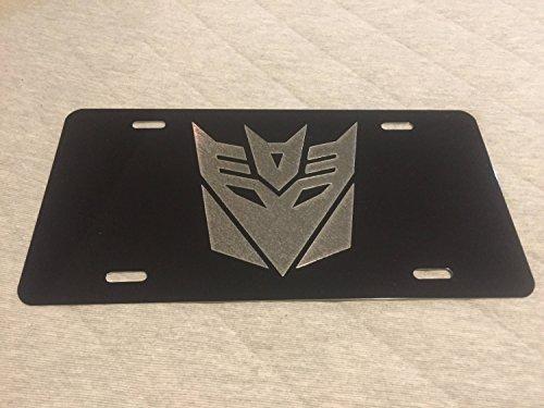 Diamond Etched Transformers Decepticon Logo Car Tag on Black Aluminum License Plate