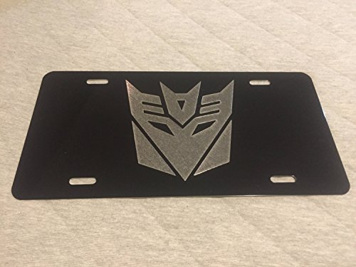 Diamond Etched Transformers Decepticon Logo Car Tag on Black Aluminum License Plate