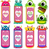 28 Valentines Day Greeting Cards; Valentine's Gifts Big Opening Mouth Candy Holders for Kids School Classroom Exchange Treat (Monster Big Mouth)