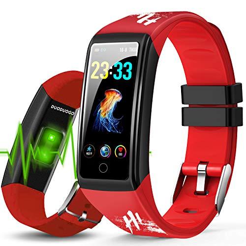 Smartwatch, für Damen, Herren, Kinder, Smartwatch, mit Herzfrequenzmesser, Touchscreen, wasserdicht, Sport, Schrittzähler für iPhone Huawei Samsung Xiaomi Sony (rot)