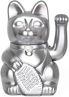 Gato de la Suerte chino. Lucky Cat. Maneki Neko. COLOR PLATA 12x9x18cm