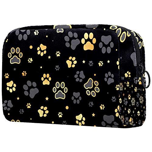 Bolsa de maquillaje multifuncional con estampado de huellas de perro doradas y estrellas, bolsa de maquillaje Multi01. 18.5x7.5x13cm/7.3x3x5.1in