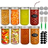 Mason Jars 12oz, Wide Mouth Glass Canning Jars with Lids Set of 8, Jam Jars Ideal for Jelly, Spices, Decoration, Smoothies, Candy, Salad, Fruits and Vegetable, Wedding Favors