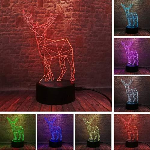 Lumière de nuit créative 3D Elk Deer 7 couleur dégradé Gradation Nuit Lumière chambre à coucher dormir cadeau enfant Kids Friend anniversaire jouet cadeaux