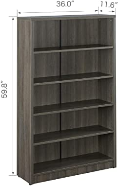 Sunon Collection 5-Shelf Wood Bookcase Freestanding Display Bookshelf for Home and Office, Assembly Required (5-Shelf, Grey)