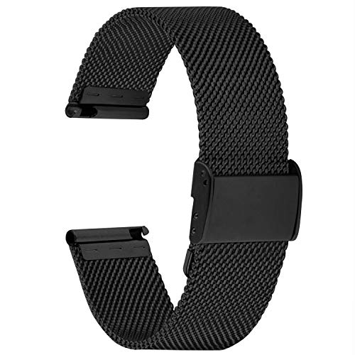 Cinturino Orologio 18mm, Cinturini in Acciaio Inossidabile di Ricambio Compatibile con Orologi Asus Zenwatch/Huawei, per Donna e Uomo, Nero 18mm