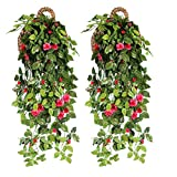Ying Ying Chic YYC 2Pcs Beautiful Artificial Rose Vine Fake Realistic Hanging Flower Wedding Home Hotel Floral Decor (Rosered)