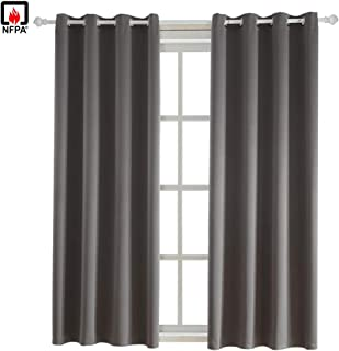 BEGOODTEX Inherent Flame Fire Retardant Blackout Curtain, Grey, 52W by 84L inch, 1 Panel