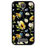 Hapdey Funda Negra para [ ZTE Blade L5 - L5 Plus ] diseño [ Patrón Floral, Flores Multicolores 2 ] Carcasa Silicona Flexible TPU