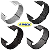 QIENGO 4Pack Compatible for Apple Watch Band 42mm 44mm,Adjustable Soft Lightweight Breathable Sports Replacement Band for Series 5 4 3 2 1(4PackF)