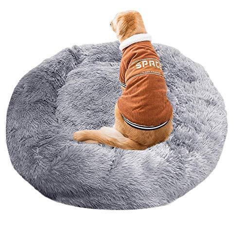 WYZQ Camas para Gatos,Cama para Perros Cama Nido Redonda Lavable Cama Relajante para Mascotas Sofá cálido y Suave para abrazar Perros Lavable para Perros Grandes/Extra Grandes-Gris Claro-XXL: 120