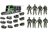 Hautton 12 in 1 Mini Army Battle-Car in Carrier Truck Set Bundle with 8 Army Men Soldier Action Figures with Weapons Accessories