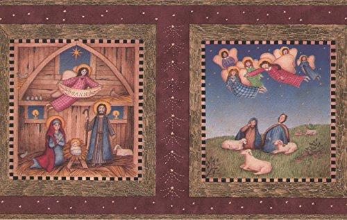 Hosanna Christian Religious Maroon Wallpaper Border, Roll 15' x 7''
