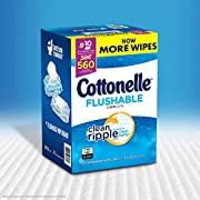 """Cottonelle Value Pack Flushable Wipes, Wavy Clean Ripple Texture, 7.25"""" x 5.0"""" Ea, 10 Pk - 56 Ct, Total 560 Wipes"""