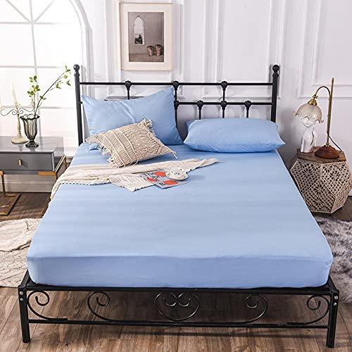 CYYyang Funda colchón Microfibra, elástica y Ajustable, Sábana de Hotel de Color Puro Simple-Azul Cielo_90cm × 200cm