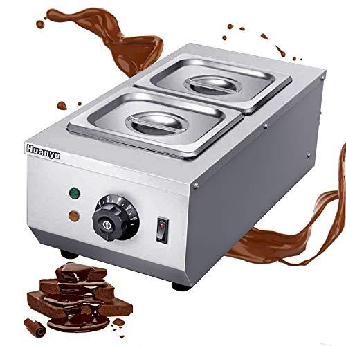 Huanyu 2*1.6L Temperiergerät Schokoladen Schmelzgerät 30~80°C Schmelzmaschine Schoko Schmelzer mit 2. Behälter für Schokolade Kuvertüre Milch Sahne Seife (E 220V)