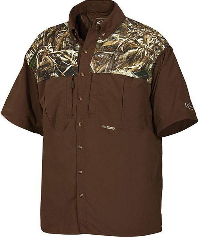 (Medium, Realtree Max5)  Drake Men's EST TwoTone Vented Wingshooter's Shirt Short Sleeve