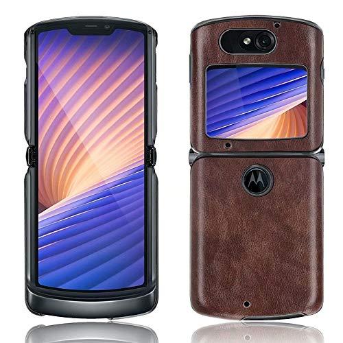 Ranyi Motorola Razr 5G Hülle, Motorola Razr 5G Lederhülle, ultra dünne Lederhülle, stoßdämpfend, R&umschutz, flexible Lederhülle, für Motorola Razr 5G 15,7 cm (6,2 Zoll) (2020), Braun