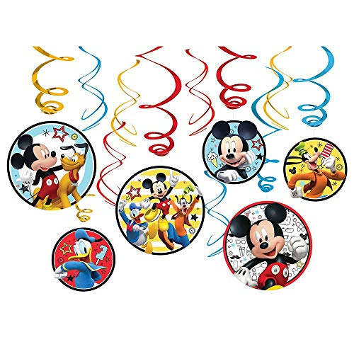 amscan 671789 Disney Mickey on The Go Value Pack Foil Swirl Decorations, Party Favor 7' 12 ct