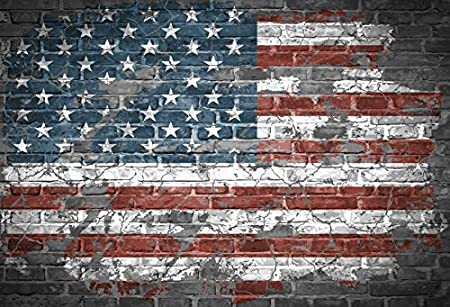 10x8ft Faded American Flag Backdrop Vinyl Grunge Brick Wall Backgroud July 4th USA Independence Day Celebration Banners Patriotic Holidays National Day Activity Phtobooth Props
