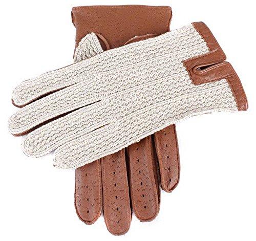 Dents Cognac crochet de coton Retour gants de conduite - Grand de