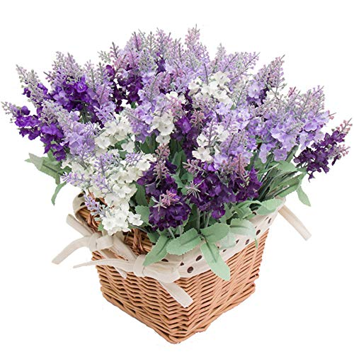 Wootkey 12 Pack Artificial Flower Mixed Color Lavender 4 Bundle Arrangement for Wedding Bouquet Silk Fake Faux Flowers with Greenery Leaves Stems Table Centerpiece Ideas DIY Home Decor Party