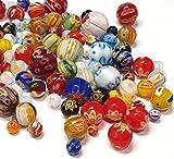 30stk Millefiori Perlen Motiv Bastel Set, Rund, Oval, Herz, Stern, Münze, Quadrat Perlenmischung Bunte Set Glasperlen Mix Form Perle zum Auffädeln Kinder Schmuckperlen...