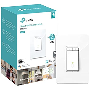 Kasa Smart Wi-Fi Light Switch, Dimmer by TP-Link - Dim Lighting from Anywhere, Easy In-Wall Installation (Single-Pole Only), Works With Alexa and Google Assistant (HS220)