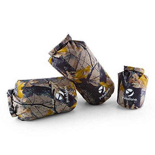 yukatana Treckset Camou - Seesack, Packsack Set, Rollbeutel, 3er Set, wasserdicht, 5L + 15L + 20L, Wickelverschluss, Clip-Schnalle, wasserdicht, Winddicht, 500D PVC Tarpaulin, Camouflage