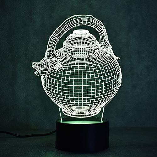 Qliyt 3D Led Visuelles Nachtlicht Bunte Farbverlauf Mode Skulptur Leuchten Usb Flagon Teekanne Schreibtischlampe Geschenk-Fernbedienung Und Touch