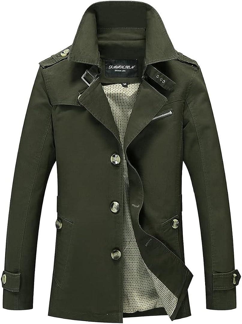 Men Slim Fit Turn Down Collar Buttons Male Fashion Outerwear Jacket Windbreaker