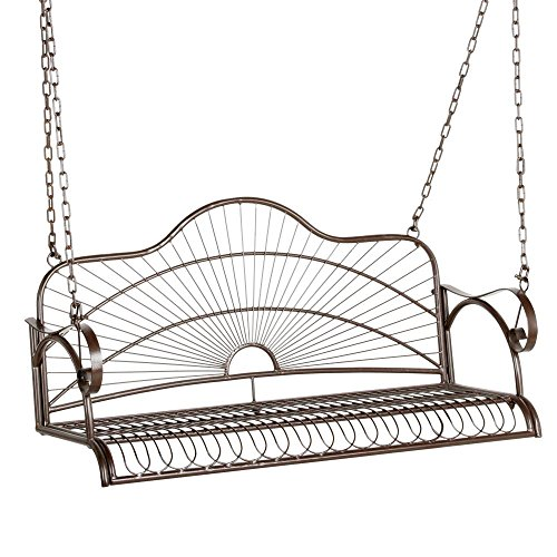 Yaheetech Metal Hanging Patio Porch Swing Bench Chairs Seat Metal Lawn Chairs Outside Chairs with Chains and Arm for Outside Yard, Lawn, Deck, Garden, Powder Coated Rustic Deck Furniture for 2 Persons